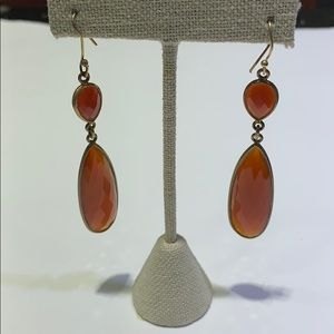 Silver with gold plated Carnelian drop earings